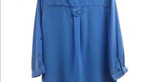 Chiffon Blouse /Top Blue Lisa International Shirt/blouse Silky feeling /100% pol...