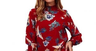 Chiffon Blouse Tops Flower Print Long Sleeve Ruffled Blouserricdress