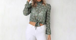Chiffon Blouse Women'S Shirt Short Women Tops Blouse Long Sleeves Tops Turtleneck Boluse Flare Sleeve Shirt Green M