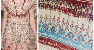Designer 100% Silk Chiffon Fabric - Red Bohemian Print- Sold by yard