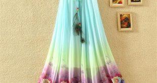 Details about Women's Peacock Feather Rose Flower Beach Maxi Dress Elastic Waist Long Skirt