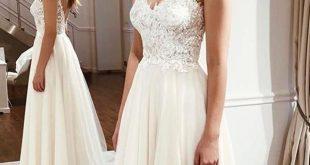 Elegant Spaghetti Straps Sleeveless Lace Appliques Wedding Dresses W1470 from Ul...
