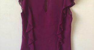 Express Chiffon Blouse Sz M Express 100% polyester chiffon blouse with ruffle de...