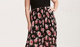 Floral Chiffon Skirt Knit Top Maxi Dress