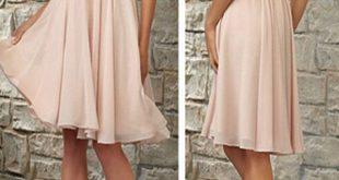 Für Standesamt? Kurzes Brautjungfernkleid, Blush Pink Brautjungfernkleid, V-Ausschnitt