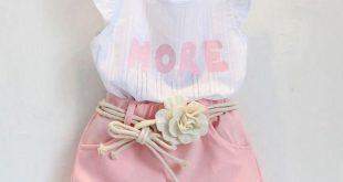 Girls 2 Pcs Set Floral Chiffon Shirt + Pants Summer Clothing Set Baby Girl Outfit Children Clothes Kids Fashion Clothes