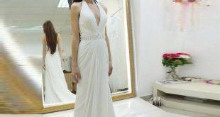 Ivory Deep V Neck Prom Dress Chiffon Long Formal Gown For Beach Wedding