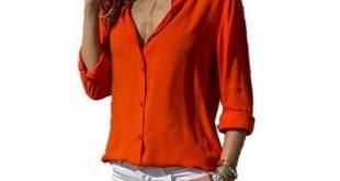 Lossky Women Tops Blouses Autumn Elegant Long Sleeve Solid V-Neck Chiffon Blouse Female Work Wear