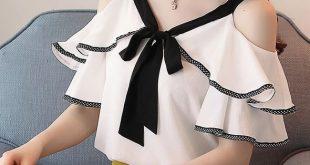 New 2018 Spring Short Sleeve Chiffon Shirt Temperament Sweet Ruffled V-neck Strapless Shoulder Top Lady Blouse 991A D598 30