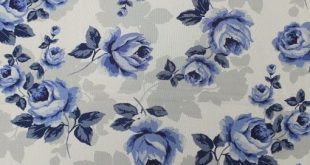 Off White and Blue Rose Floral Printed on Hi-Multi Chiffon Fabric