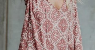 Pink Long Sleeve V Neck Printed Chiffon Blouse