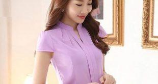 Pink White Chiffon Blouse Women 2018 Short Sleeve Elegant Ladies Office Shirts Korean Fashion Casual Slim Women Tops Blusas