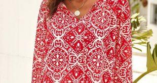Red Long Sleeve V Neck Printed Chiffon Blouse