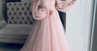 Rosa Tüll Schulterfrei Puffärmel Langes Abendkleid Heiße Abendkleider G5265