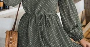 Shop Green Chiffon Schulterfrei Polka Dot Puff Sleeve Chic Damen Minikleid