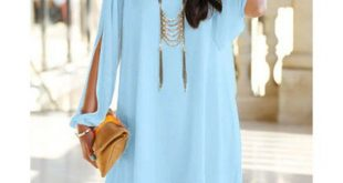 Stylish V-Neck Long Sleeve Hollow Out Chiffon Dress For Women, AZURE, M in Chiff...