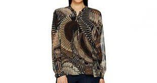 Susan Graver Printed Sheer Chiffon Shirt and Knit Tank Set