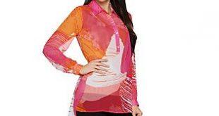 Susan Graver Printed Sheer Chiffon Shirt with Hi-Low Hem