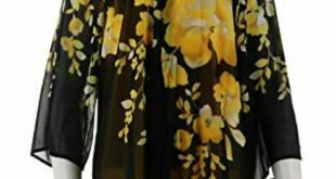 Susan Graver chiffon cardigan with knit tank set Black with yellow floral print....