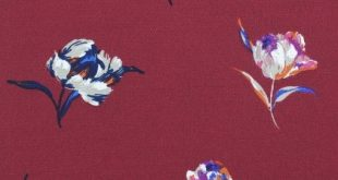 Wine and Dusty Pink Floral Print Small Magnolia Flowerson Crepe Chiffon Fabric