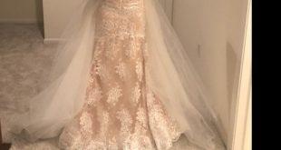 detachable train wedding dress Nektaria ,off the shoulder long sleev wedding dress , mermaid lace wedding dress