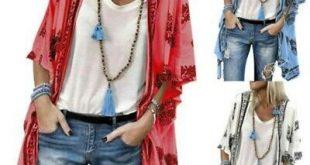 (eBay Ad) Women Floral Beach Kimono Blouse Chiffon Cardigan Shawl Cover Up Plus ...